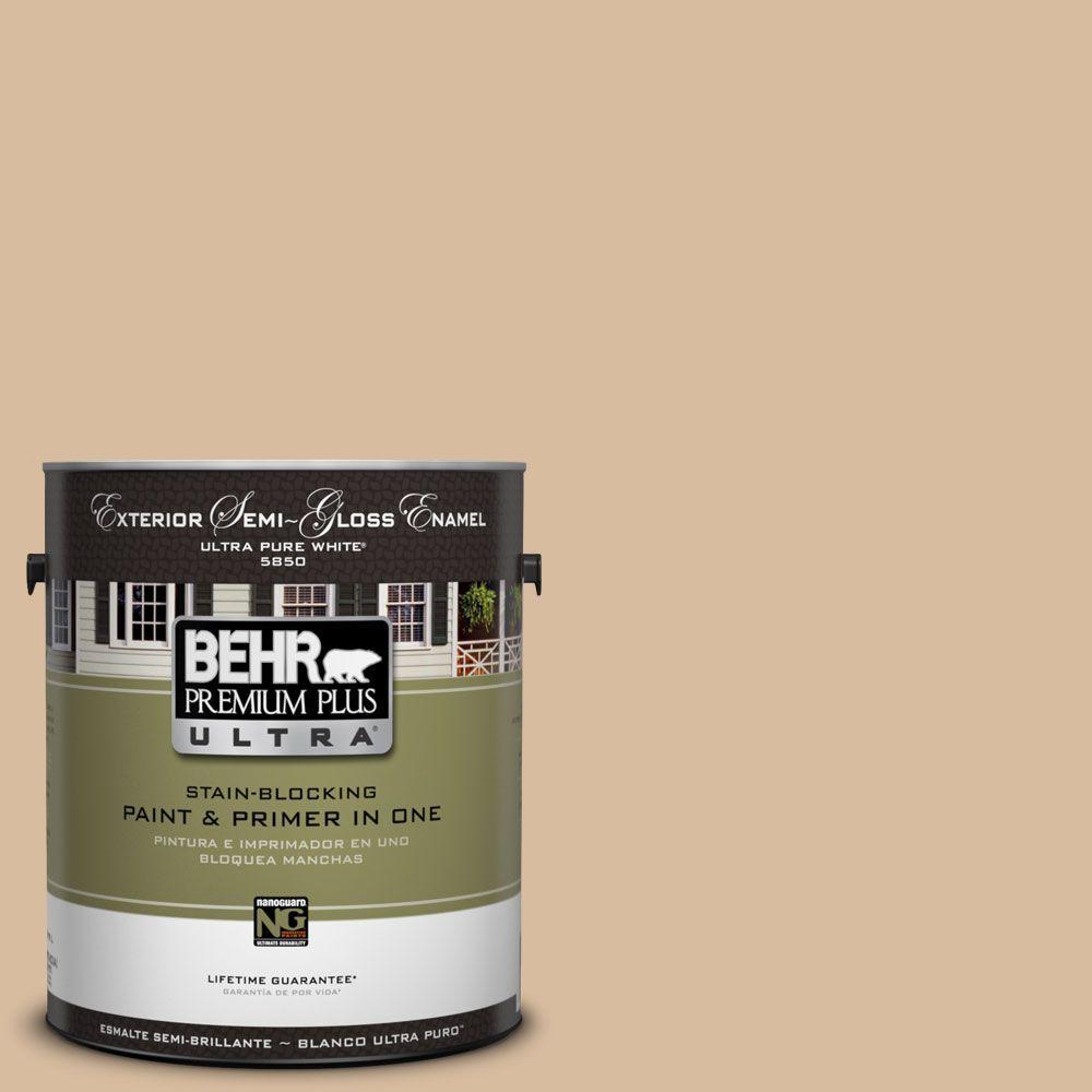BEHR Premium Plus Ultra 1-Gal. #UL140-17 Renoir Bisque Semi-Gloss Enamel Exterior Paint
