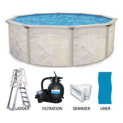 21 ft. Round 52 in. Deep Hard Side Metal Wall 6 in. Steel Uprights Above Ground Swimming Pool Package