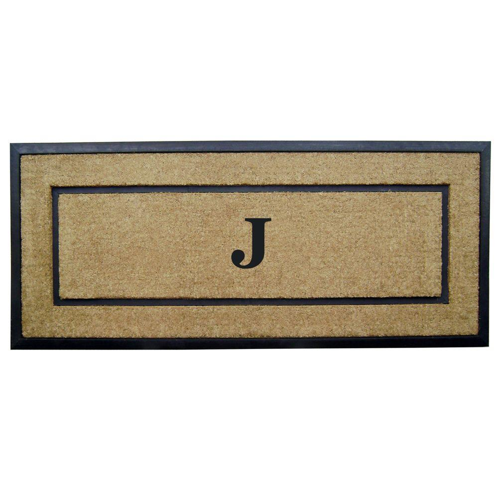 DirtBuster Single Picture Frame Black 24 in. x 57 in. Coir with Rubber Border Monogrammed J Door Mat