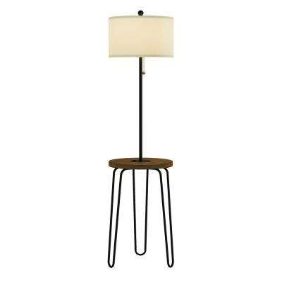 59 in. Brown and Black Mid-Century Modern LED Floor Lamp End Table with USB Charging Port