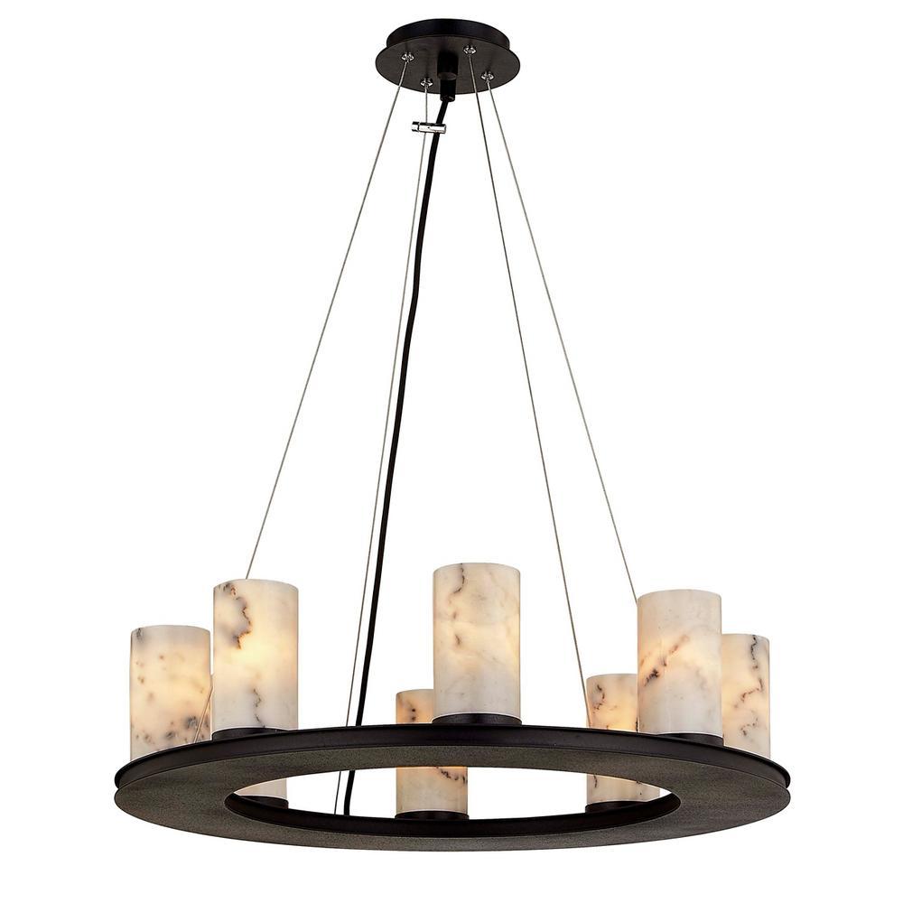 Catalonia 8-Light Pendant - Textured Black Frame - White Marble Shade