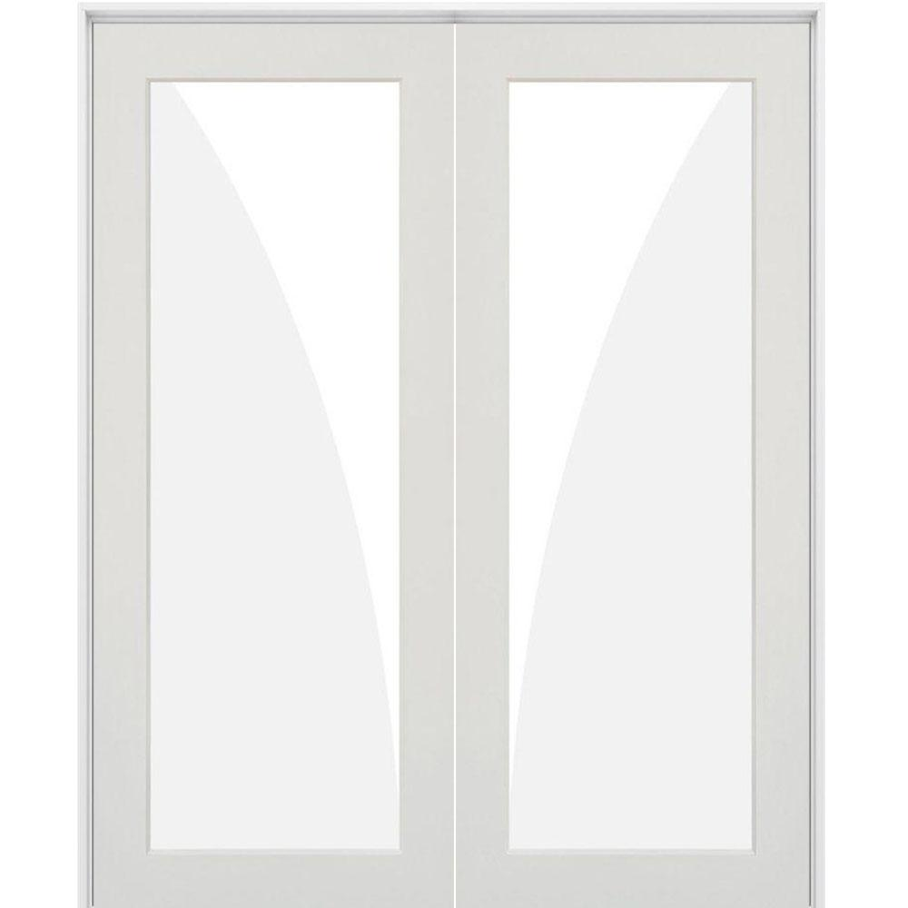 Krosswood Doors 56 In X 80 In Craftsman Shaker 1 Lite Clear Glass Both Active Mdf Solid Hybrid