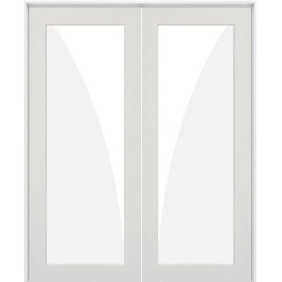 60 in. x 80 in. Craftsman Shaker 1-Lite Clear Glass Both Active MDF Solid Hybrid Core Double Prehung Interior Door