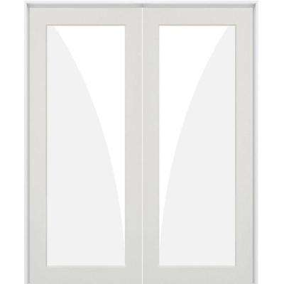 48 in. x 96 in. Craftsman Shaker 1-Lite Satin Etch Right Handed MDF Solid Hybrid Core Double Prehung Interior Door