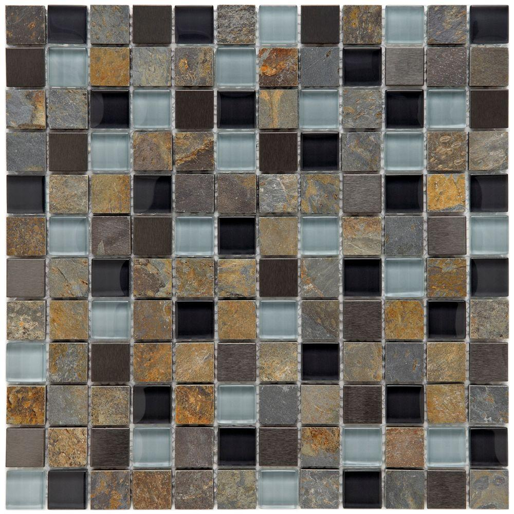 Merola Tile Cathedral Alloy Charcoal 12 In X 8 Mm Gl Stone And Metal Mosaic Gitcaach The Home Depot