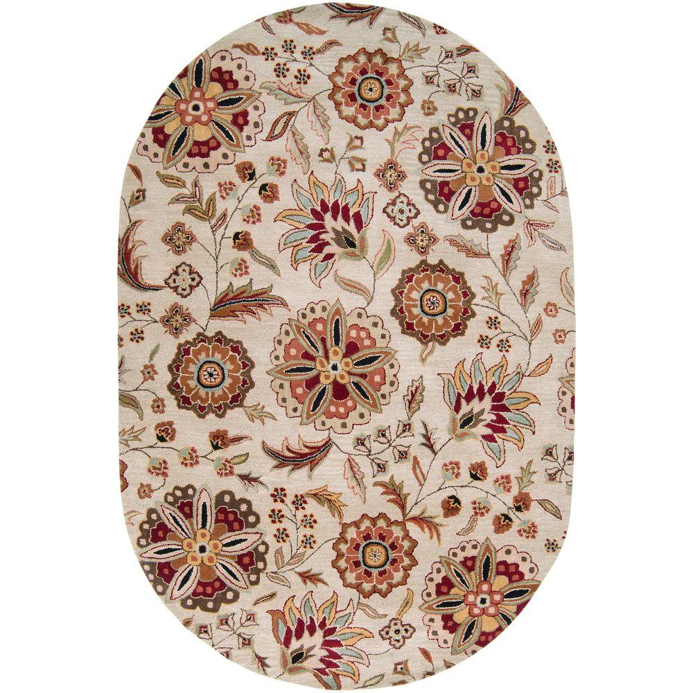 Sarah Ivory 6 ft. x 9 ft. Oval Area Rug