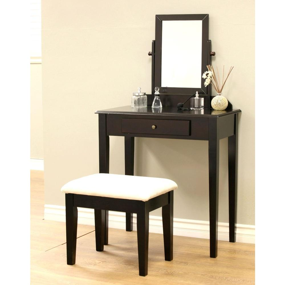 3 Piece Expresso Vanity Set Makeup Vanities  Bedroom Furniture The Home Depot