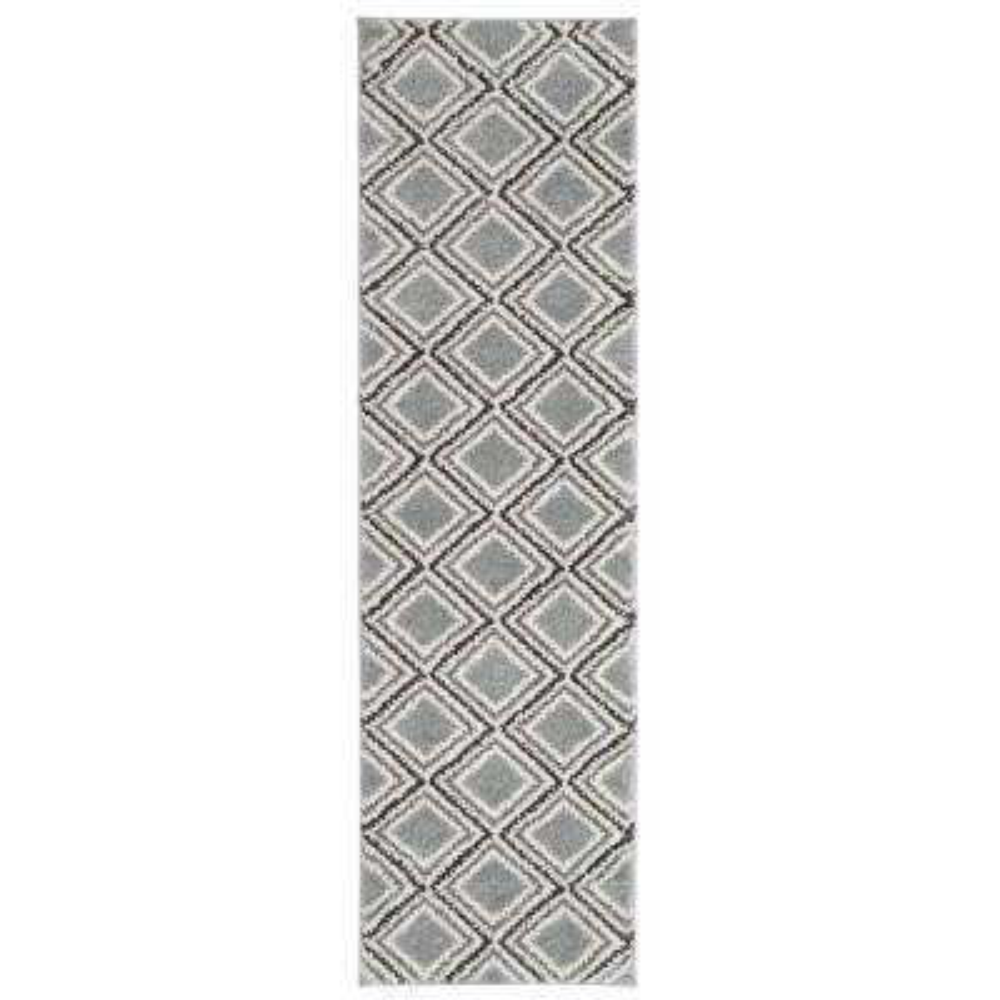 Contemporary Geometric Trellis Ultra Soft Shag Gray 2 ft. x 7 ft. Runner Rug