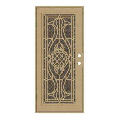 32 in. x 80 in. Manchester Desert Sand Left-Hand Surface Mount Security Door with Brown Perforated Metal Screen