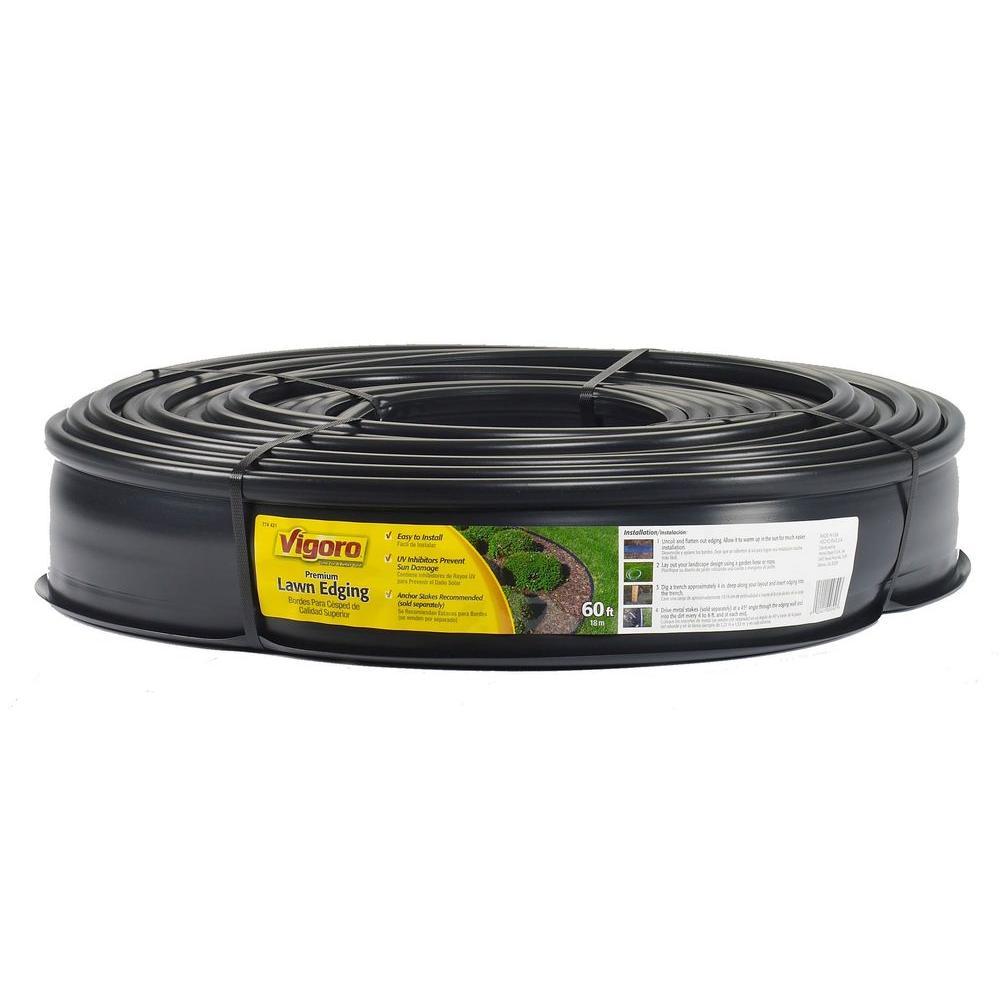 Vigoro 60 ft. x 0.5 in. x 4.5 in. Black Plastic Lawn Edging