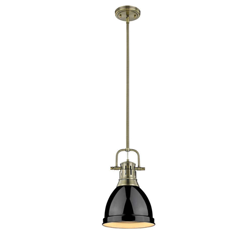 Duncan AB 1-Light Aged Brass Pendant with Black Shade