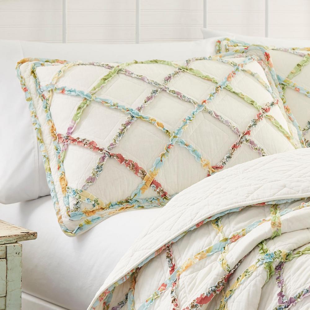 Ruffle Garden Beige Geometric Cotton Standard Sham