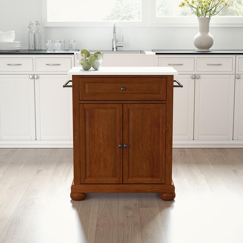 Alexandria Cherry Portable Kitchen Island/Cart with Granite Top
