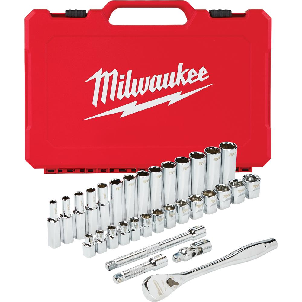 Milwaukee Milwaukee 3/8 in. Drive Metric Ratchet and Socket Mechanics Tool Set (32-Piece)