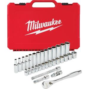 Deals on Milwaukee 3/8 in. Drive Metric Ratchet and Socket Mechanics Tool 32pcs