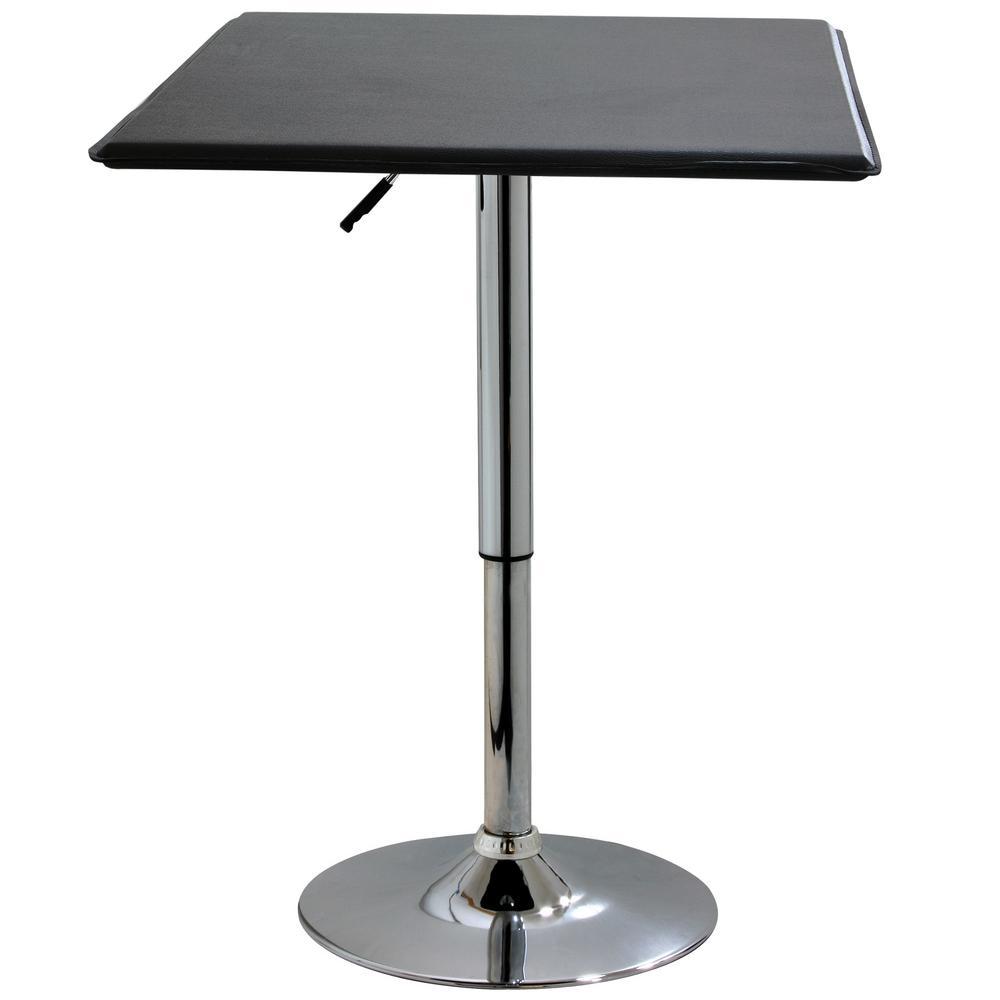 AmeriHome Adjustable Swivel Pub/Bar Table with Black Top ATABLESQ