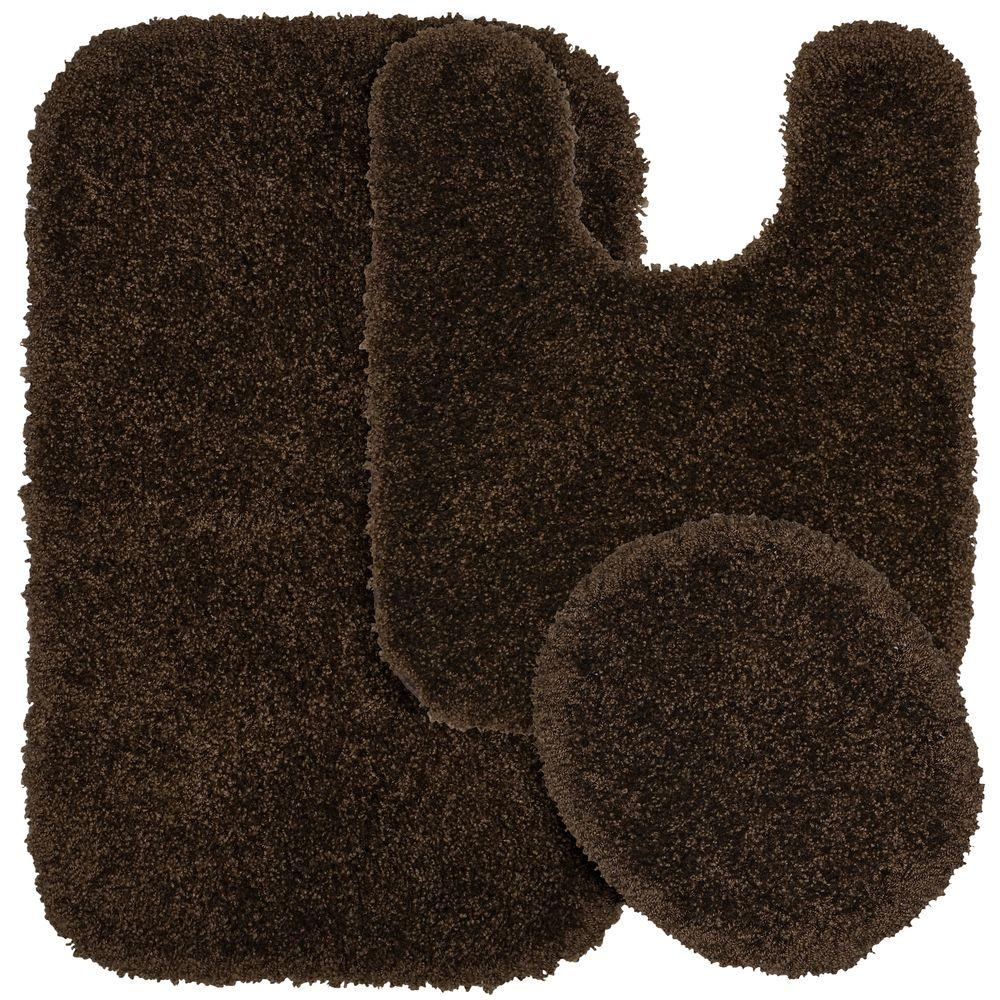 Serendipity Chocolate (Brown) 21 in. x 34 in. Washable Bathroom 3-Piece Rug Set