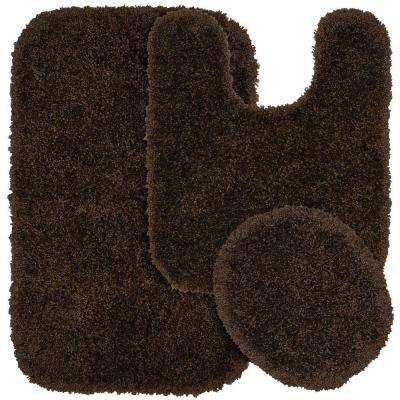 Serendipity Chocolate 21 in. x 34 in. Washable Bathroom 3-Piece Rug Set