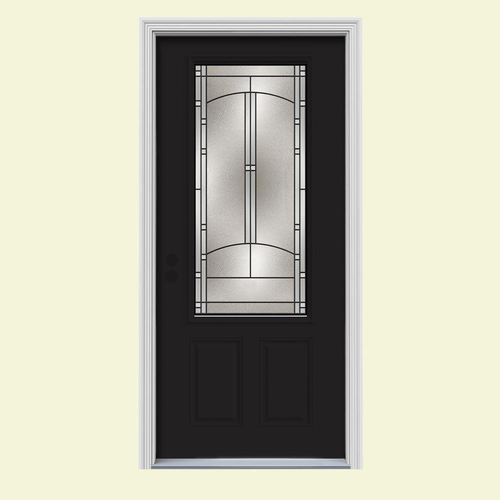 Jeld wen 34 in x 80 in 3 4 lite idlewild black w white for Prehung entry door with storm door