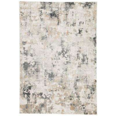 Machine Made White Sand 5 ft. x 8 ft. Abstract Area Rug