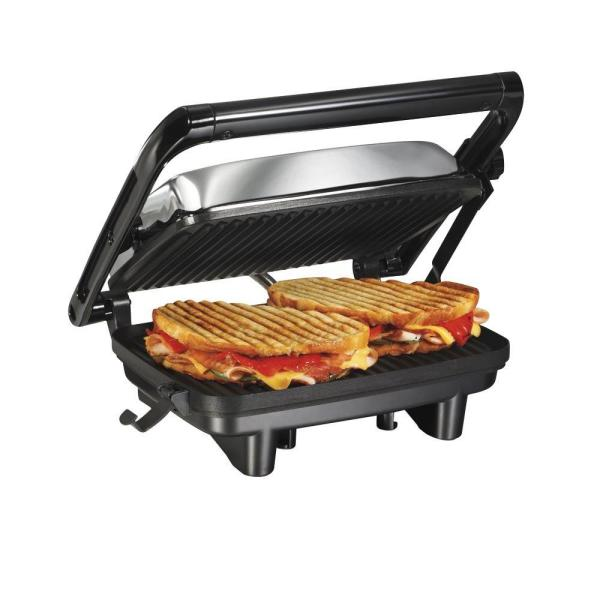 Hamilton Beach 1400 W Chrome Non-Stick Panini Press