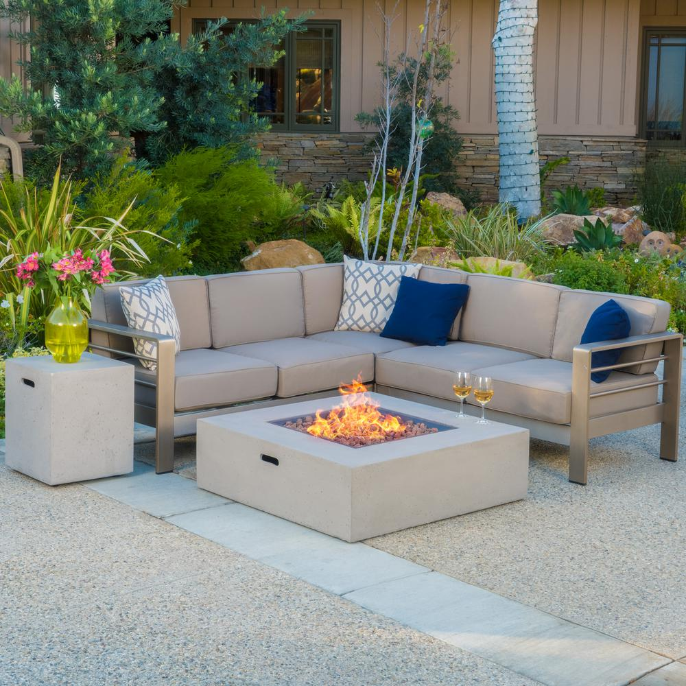 Noble House Cape Coral Khaki 5 Piece Aluminum Outdoor Sectional Set With Khaki Cushions 11885 The Home Depot