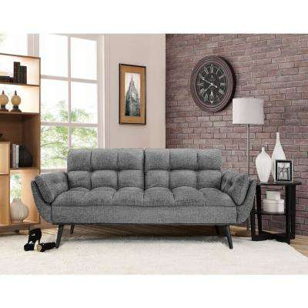 carly dark grey convertible sofa gray   futons  u0026 sofa beds   living room furniture   the home depot  rh   homedepot