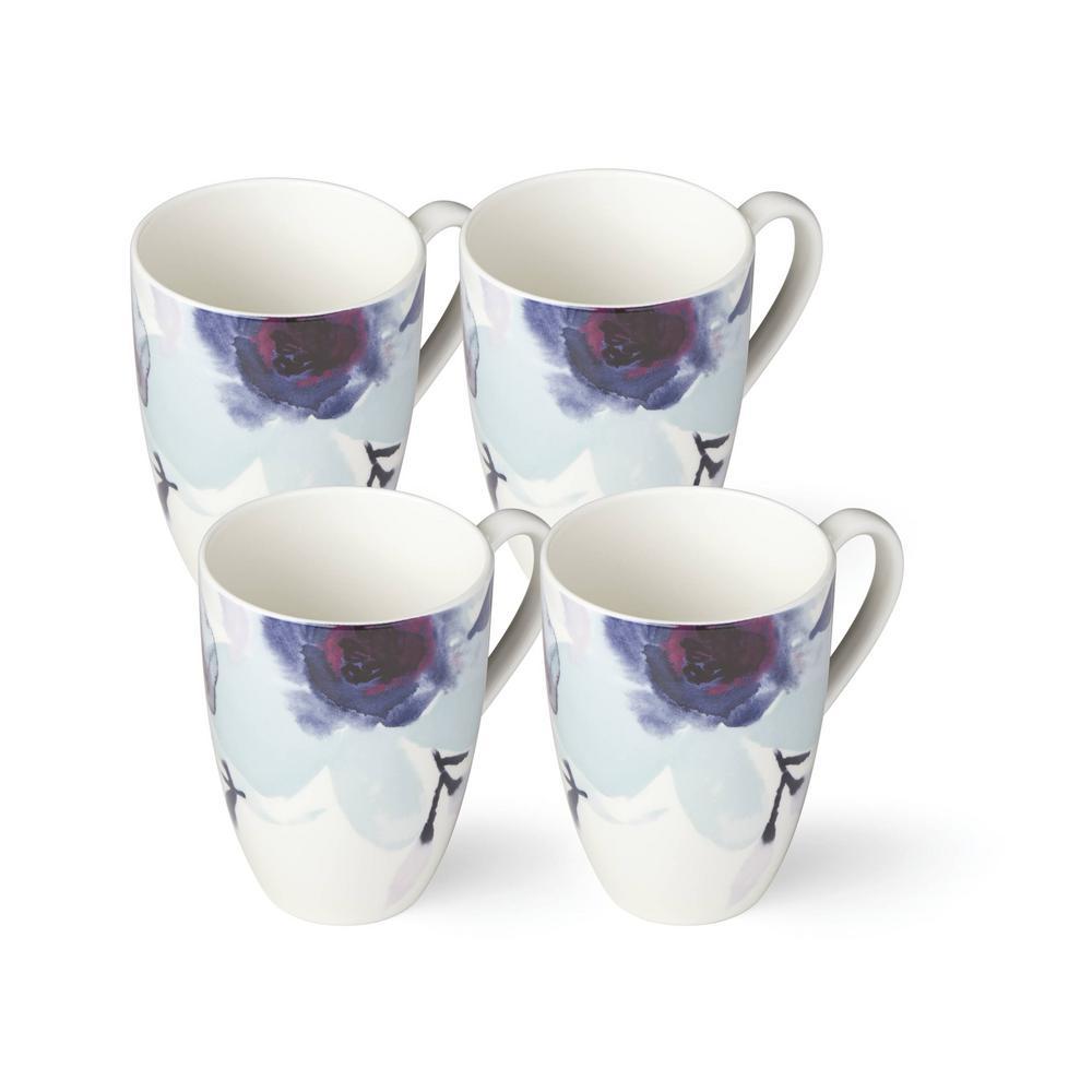 Indigo Watercolor Floral Mug (Set of 4)