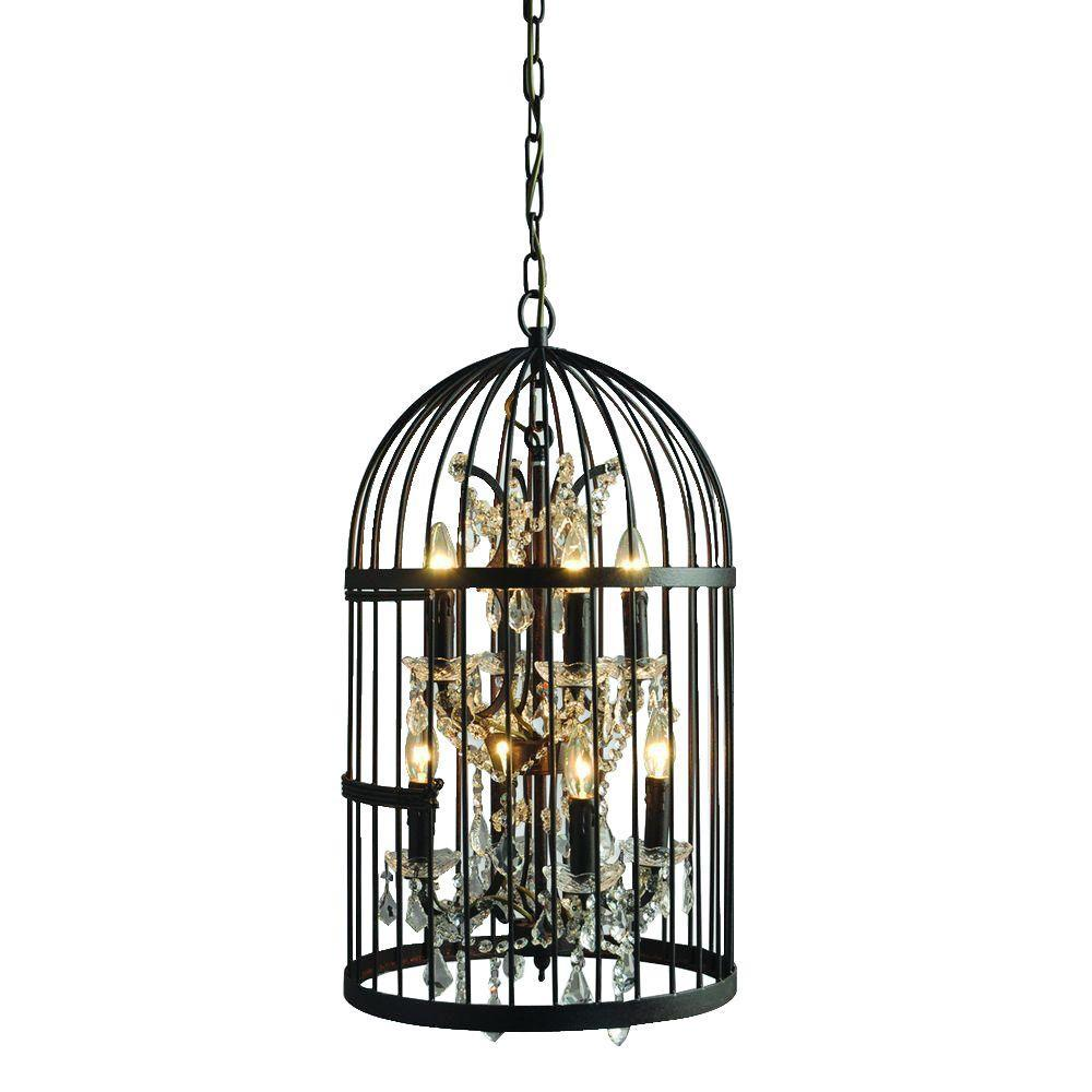 Black y decor cage chandeliers lighting the home depot hunter 8 light rustic black cage chandelier arubaitofo Images