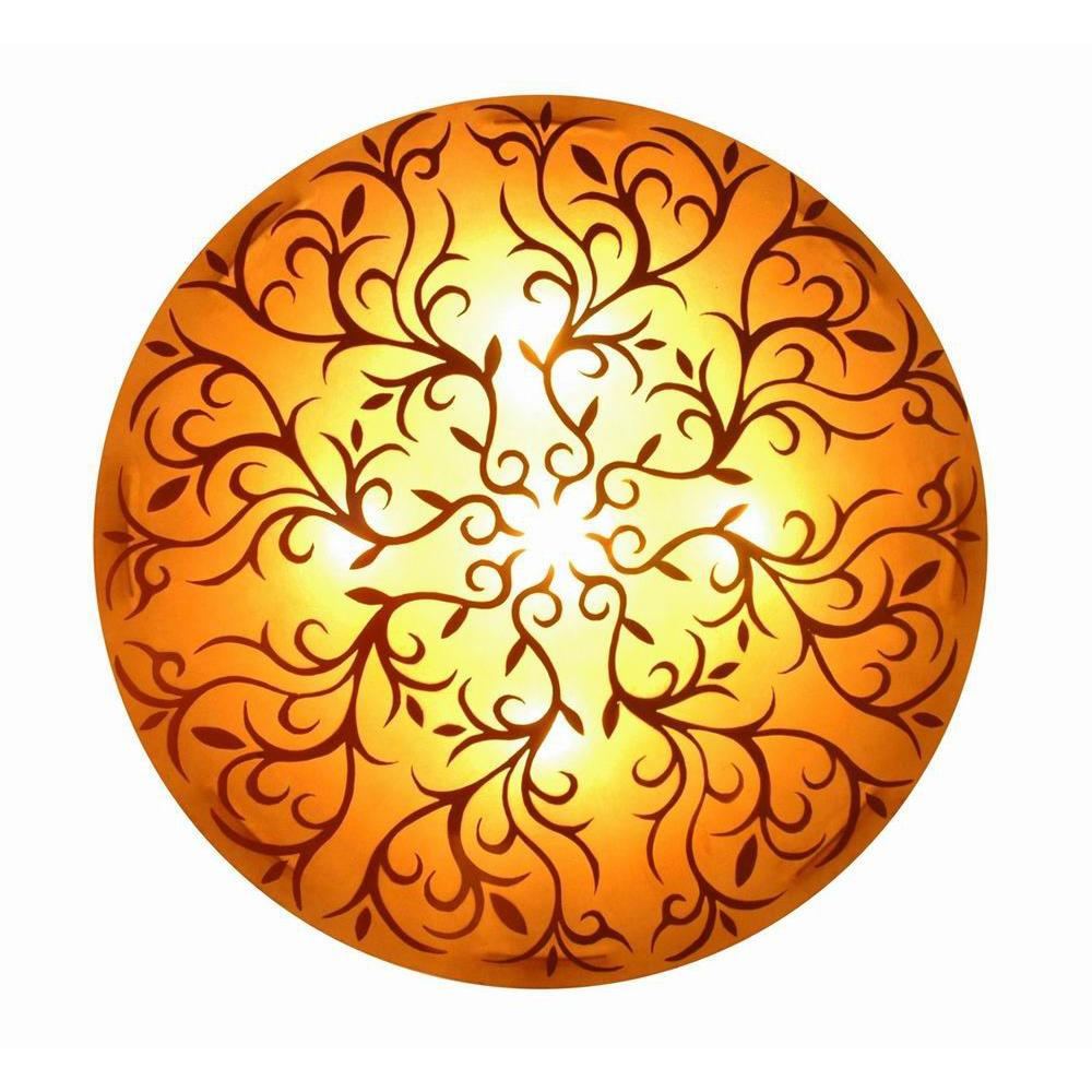 Jeffan Nancy 3-Light Amber Wall Sconce with Gold Handpainted Scroll ...