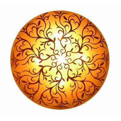 Nancy 3-Light Amber Wall Sconce with Gold Handpainted Scroll Design