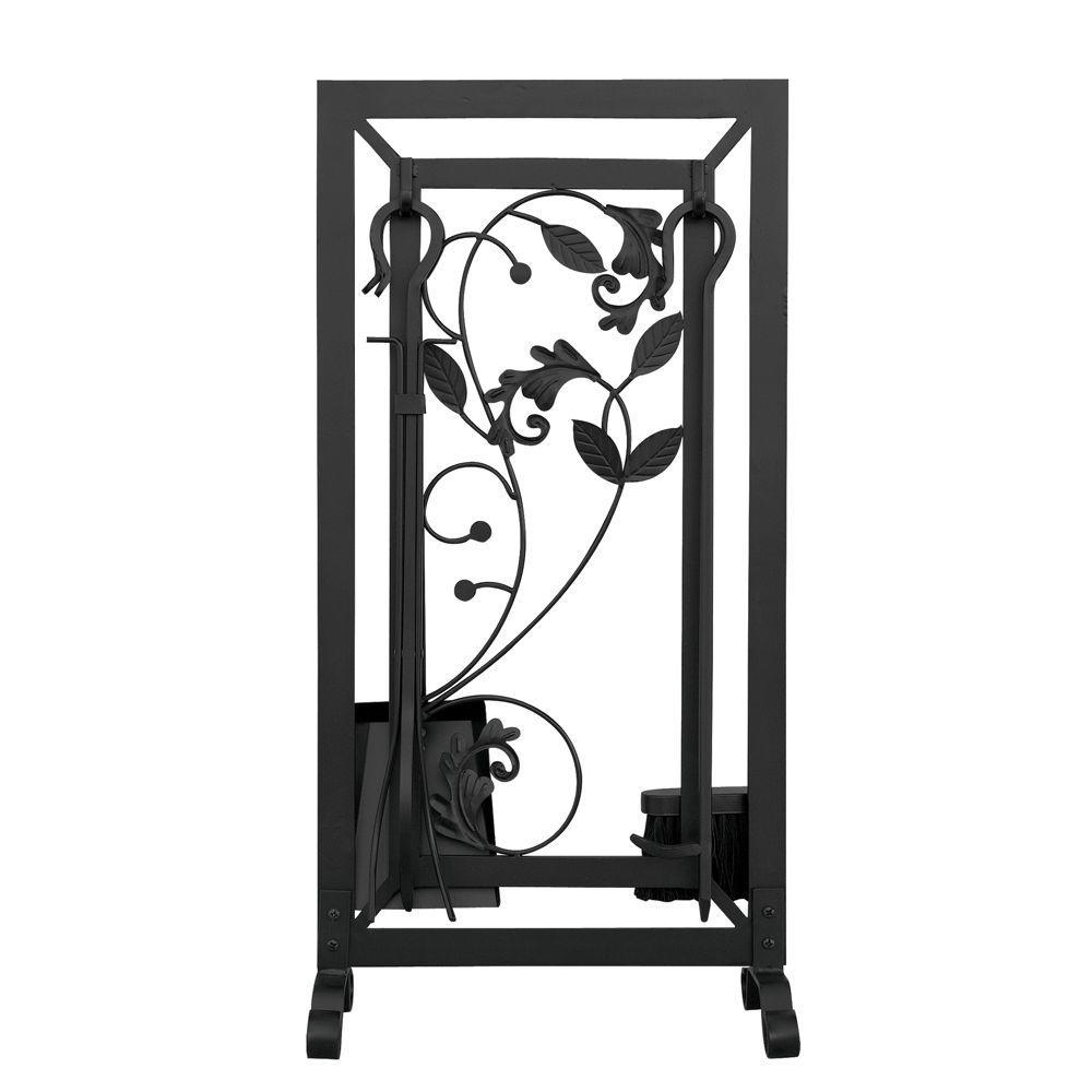 Black 5-Piece Fireplace Tool Set with Leaf Design