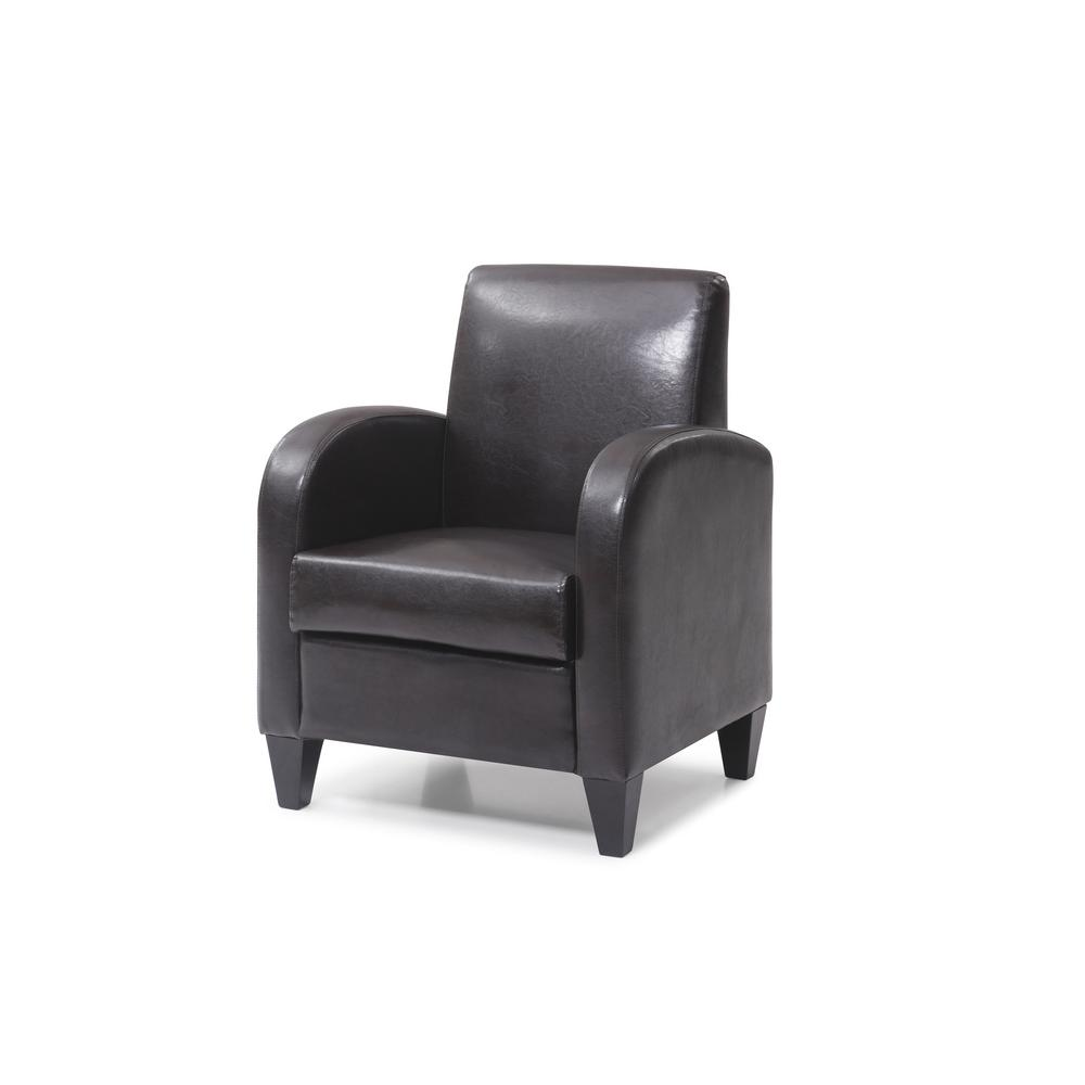 PU Brown Accent Chair with Solid Wood Legs and Frames