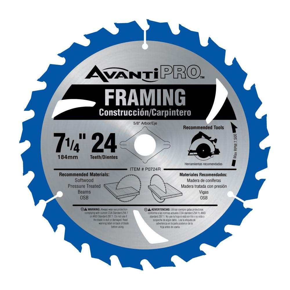 Avanti Pro 7-1/4 in. x 24-Tooth Carbide Framing Saw Blade
