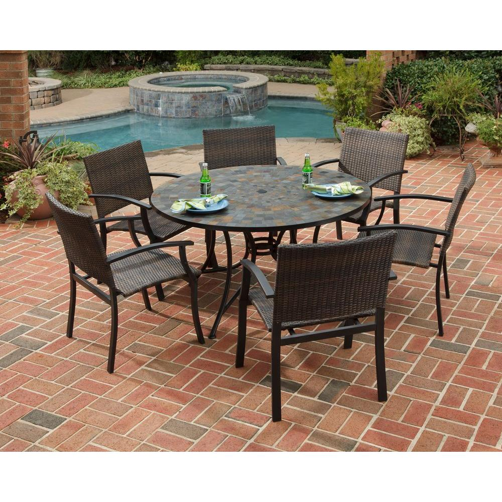 HOMESTYLES Stone Harbor 51 in. 7-Piece Slate Tile Top Round Patio Dining on at home depot grill parts, at home depot fans, at home depot rugs, at home depot garage doors, at home depot railings, at home depot plant pots, at home depot siding, home depot outside furniture, at home depot swimming pools, at home depot awnings, at home depot fireplace doors, at home depot flooring, at home depot windows, at home depot plant stands, at home depot gazebos, at home depot outdoor swings, at home depot garden arbors, at home depot grass seed, at home depot water fountains,
