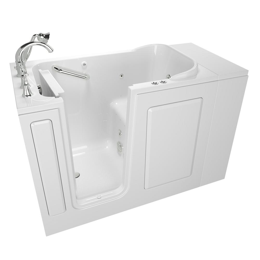 American Standard Exclusive Series 48 in. x 28 in. Left Hand Walk-In Whirlpool and Air Bath Tub with Quick Drain in White