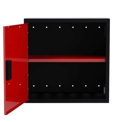 24 in. H x 24 in. W x 12 in. D Wall Cabinet 1-Door with 1-Adjustable Shelf in Black/Red