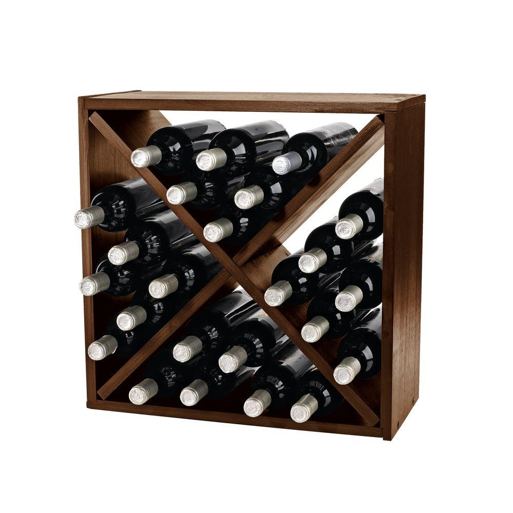 Wine Enthusiast Compact Cellar 12 In W Cube Wine Rack In Walnut