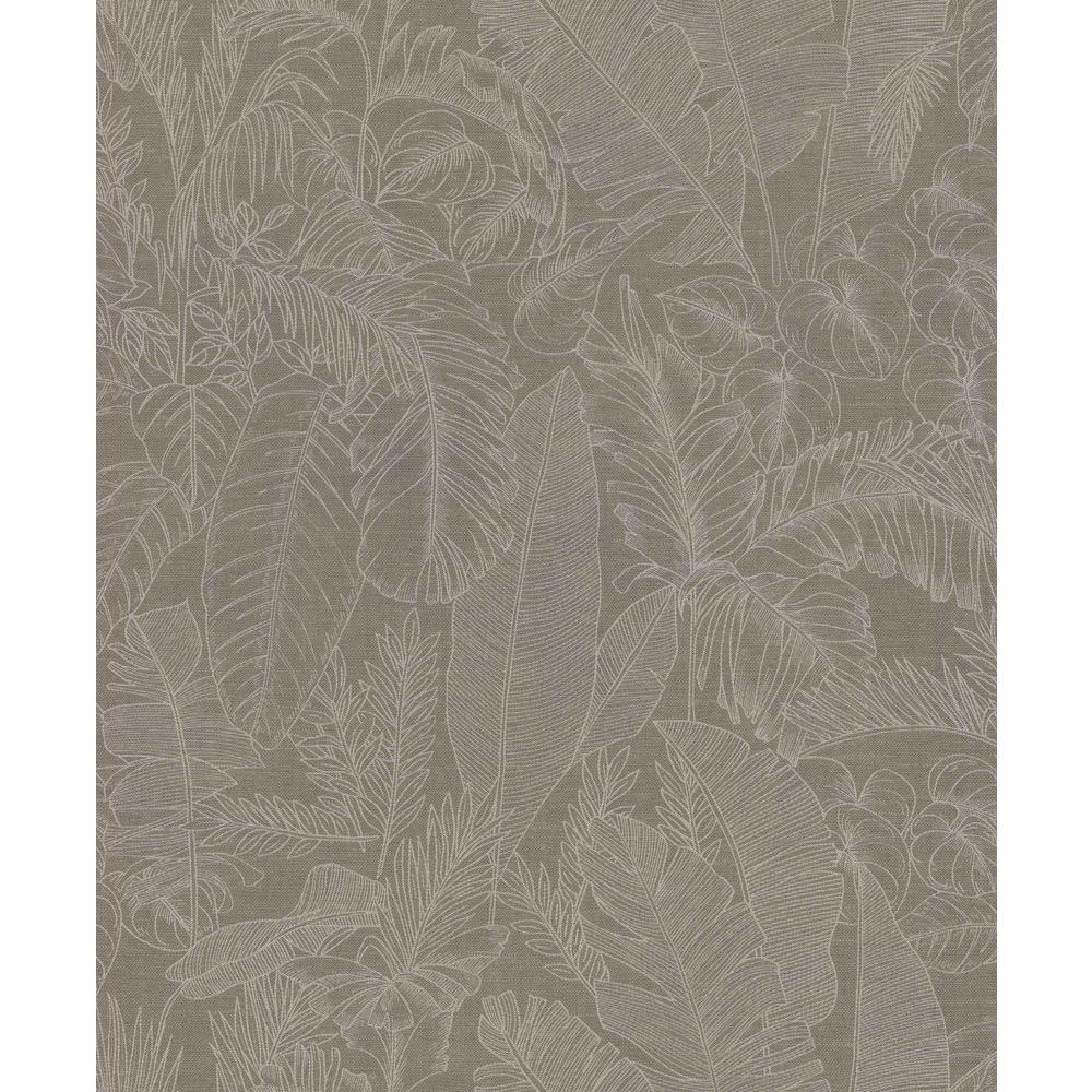 Taupe Jungle Linen Wallpaper