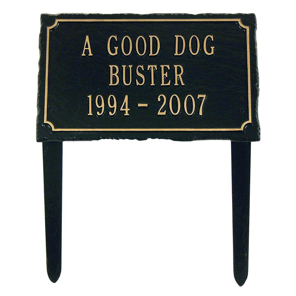Whitehall Products Slate Pet Black/Gold Three Line Lawn Memorial Plaque