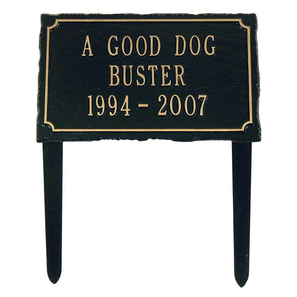 Slate Pet Black/Gold Three Line Lawn Memorial Plaque