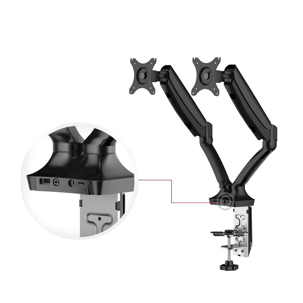 Full Motion Gas Spring Dual Arms Desk Mount Fits Most 10