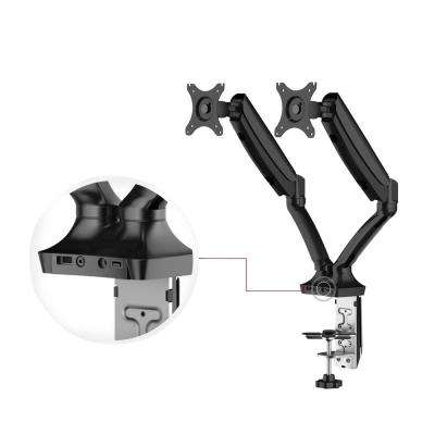 Full Motion Gas Spring Dual Arms Desk Mount Fits Most 10 in. - 24 in. Monitors with USB Ports and 2 Cables