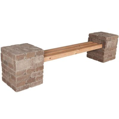 RumbleStone 100 in. x 24.5 in. x 21 in. Concrete Garden Bench Kit in Cafe