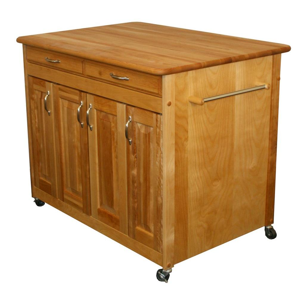 Catskill Craftsmen Natural Kitchen Cart With Butcher Block Top 54230 The Home Depot