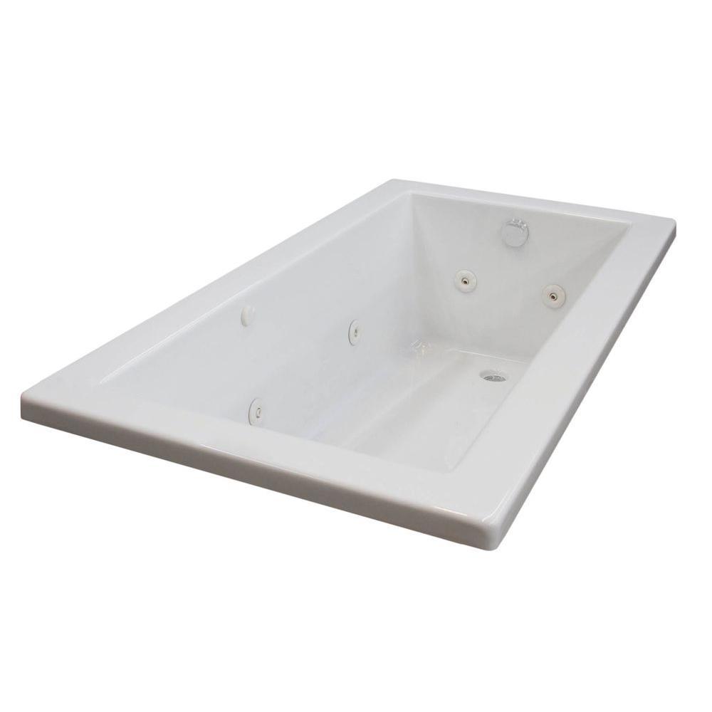 Universal Tubs Sapphire 5 ft. Rectangular Drop-in Whirlpool Bathtub in White