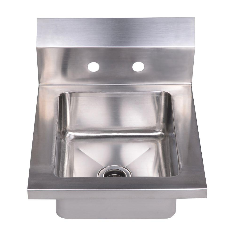 Whitehaus Collection Noah's Collection Dual Mount Stainless Steel 14 in. 2-Hole Single Bowl Kitchen Sink in Brushed Stainless Steel
