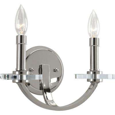 Nisse Collection 2-Light Polished Nickel Wall Sconce