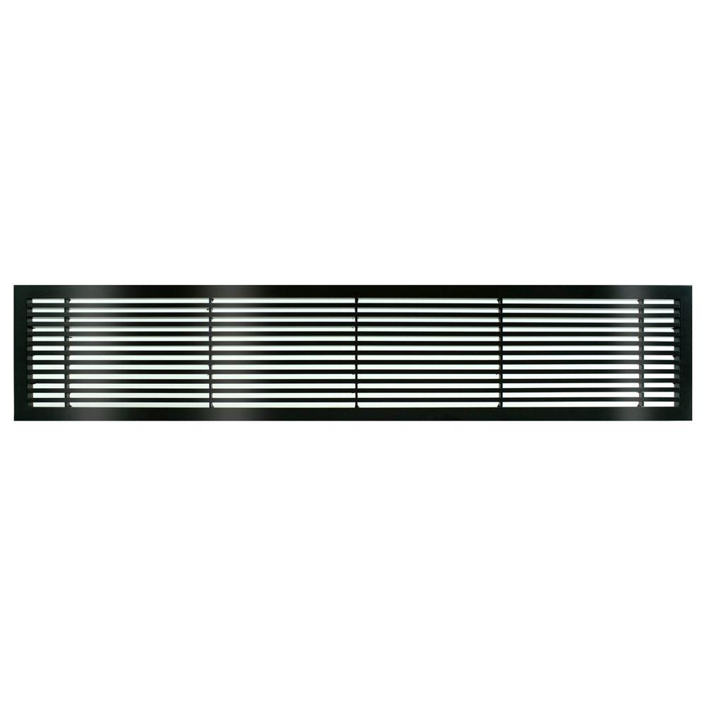 Architectural Grille AG20 Series 6 in. x 24 in. Solid Aluminum Fixed Bar Supply/Return Air Vent Grille, Black-Gloss