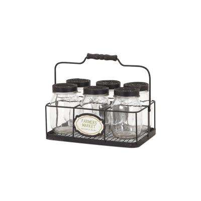 Glass Canning Jars with Black Lids and Black Carrier (7-Piece)